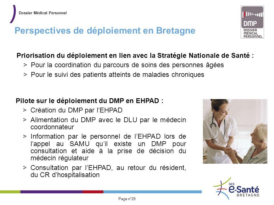 Présentation du GCS Page n°29 Perspectives de déploiement en Bretagne Dossier Médical Personnel Priorisation du déploiement en lien avec la Stratégie