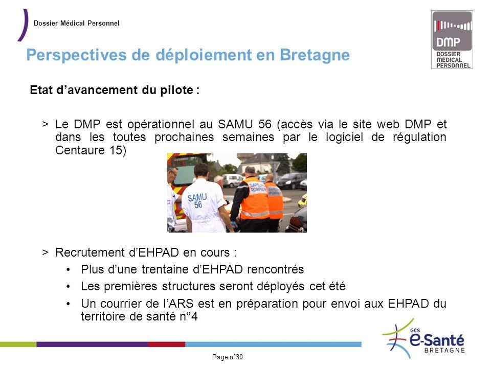Présentation du GCS Page n°30 Perspectives de déploiement en Bretagne Dossier Médical Personnel Etat d'avancement du pilote : >Le DMP est opérationnel