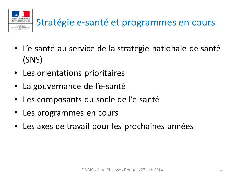 Stratégie e-santé et programmes en cours L'e-santé au service de la stratégie nationale de santé (SNS) Les orientations prioritaires La gouvernance de