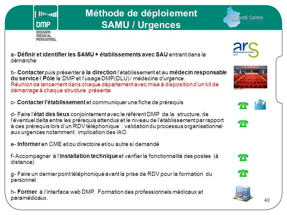 a- Définir et identifier les SAMU + établissements avec SAU entrant dans la démarche b- Contacter puis présenter à la direction l'établissement et au