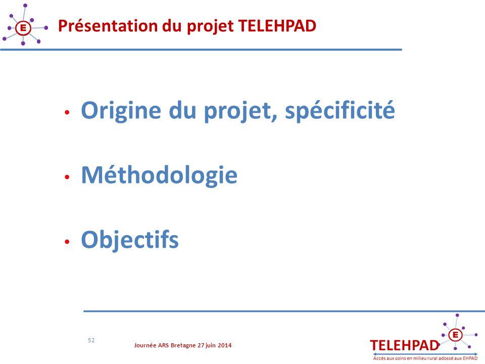 Présentation du projet TELEHPAD 52 Origine du projet, spécificité Méthodologie Objectifs Journée ARS Bretagne 27 juin 2014