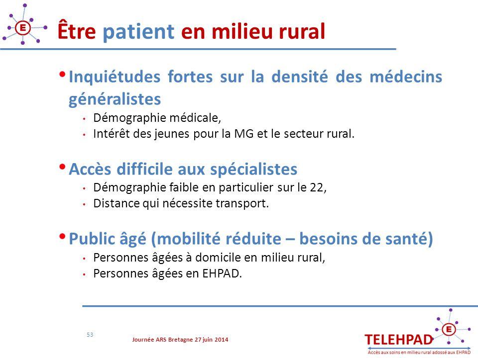 Être patient en milieu rural 53 Inquiétudes fortes sur la densité des médecins généralistes Démographie médicale, Intérêt des jeunes pour la MG et le