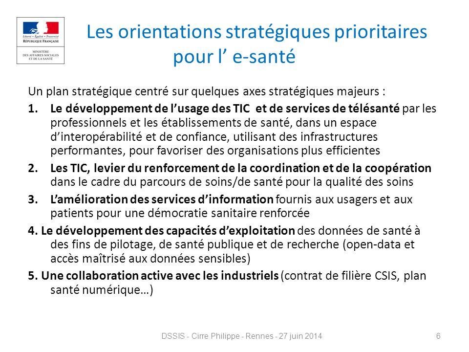 Les orientations stratégiques prioritaires pour l' e-santé Un plan stratégique centré sur quelques axes stratégiques majeurs : 1.Le développement de l