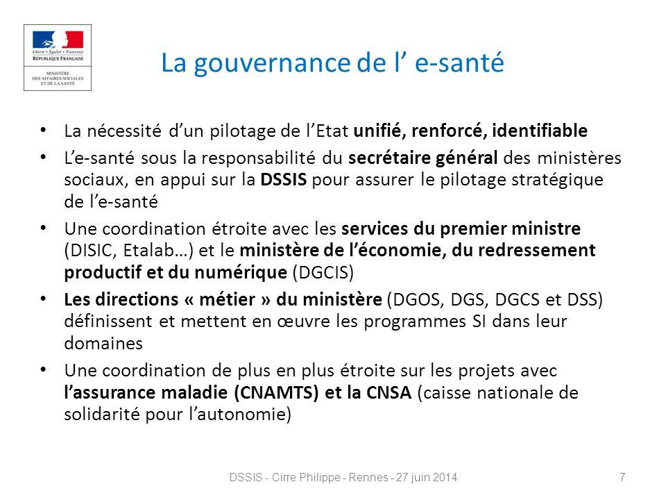 La gouvernance de l' e-santé La nécessité d'un pilotage de l'Etat unifié, renforcé, identifiable L'e-santé sous la responsabilité du secrétaire généra