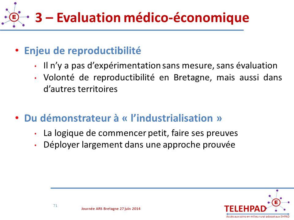 3 – Evaluation médico-économique 71 Enjeu de reproductibilité Il n'y a pas d'expérimentation sans mesure, sans évaluation Volonté de reproductibilité
