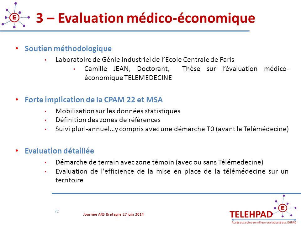 3 – Evaluation médico-économique 72 Soutien méthodologique Laboratoire de Génie industriel de l'Ecole Centrale de Paris Camille JEAN, Doctorant, Thèse