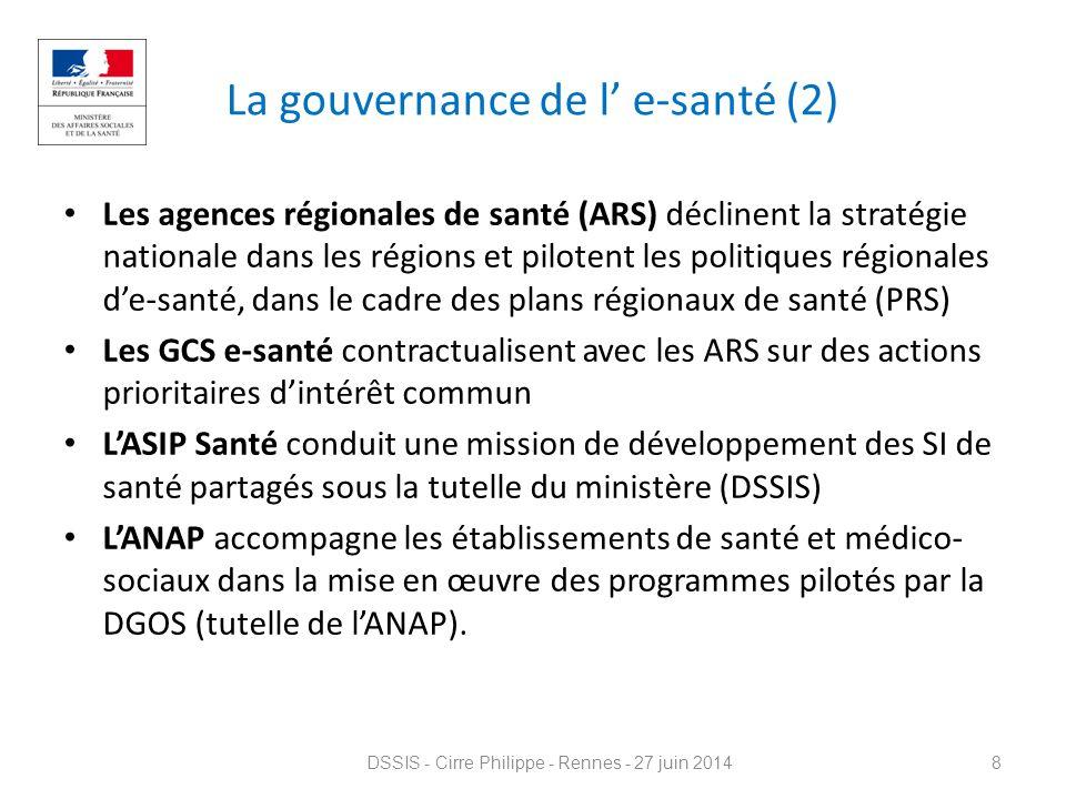 La gouvernance de l' e-santé (2) Les agences régionales de santé (ARS) déclinent la stratégie nationale dans les régions et pilotent les politiques ré