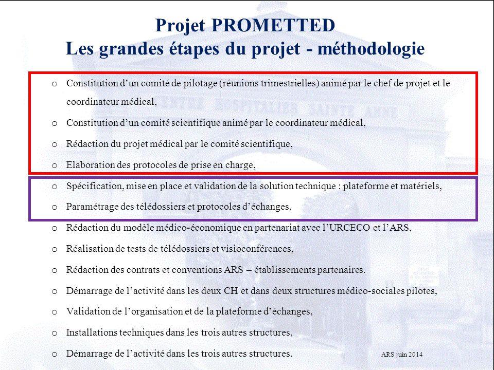 Projet PROMETTED Les grandes étapes du projet - méthodologie o Constitution d'un comité de pilotage (réunions trimestrielles) animé par le chef de pro