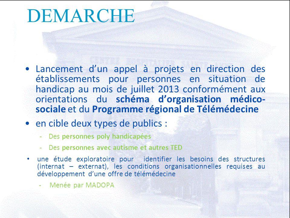 DEMARCHE Lancement d'un appel à projets en direction des établissements pour personnes en situation de handicap au mois de juillet 2013 conformément a