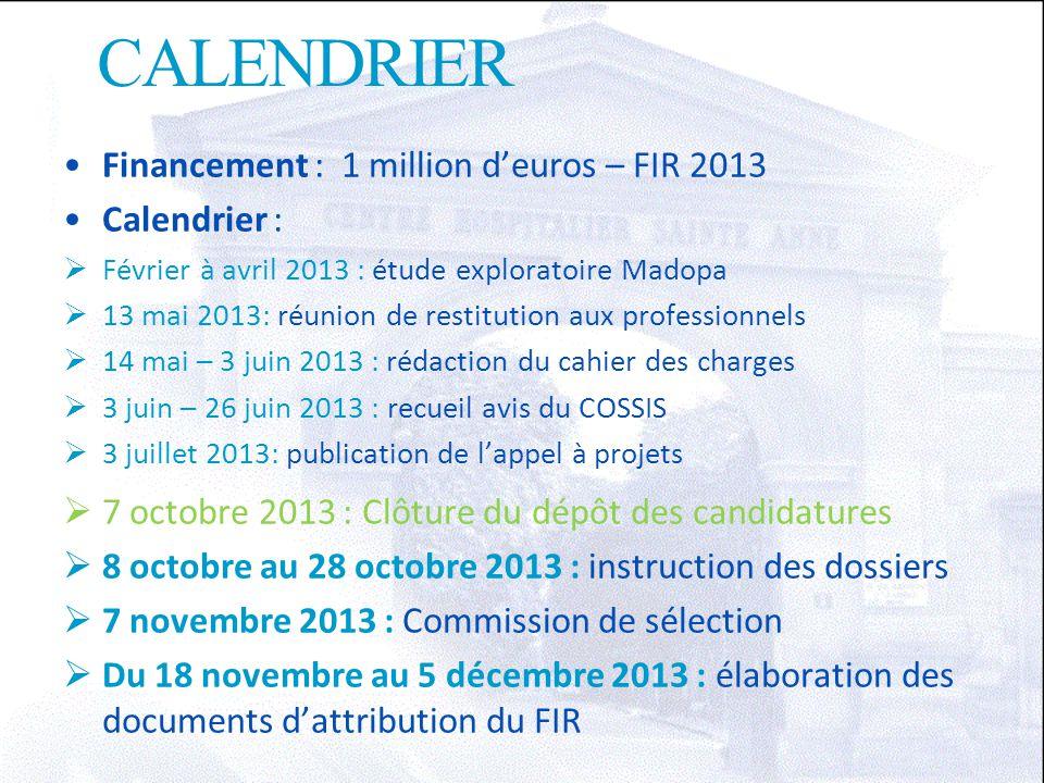 CALENDRIER Financement : 1 million d'euros – FIR 2013 Calendrier :  Février à avril 2013 : étude exploratoire Madopa  13 mai 2013: réunion de restit
