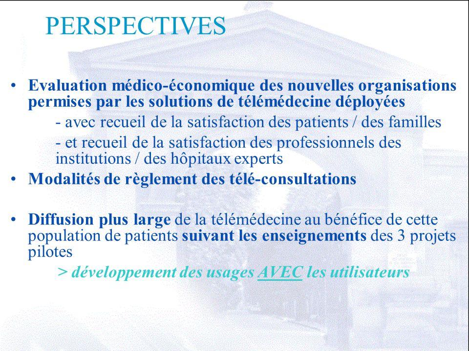 PERSPECTIVES Evaluation médico-économique des nouvelles organisations permises par les solutions de télémédecine déployées - avec recueil de la satisf
