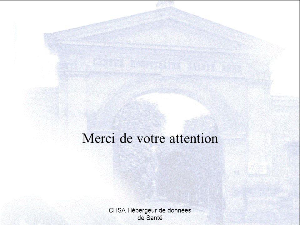 Merci de votre attention CHSA Hébergeur de données de Santé