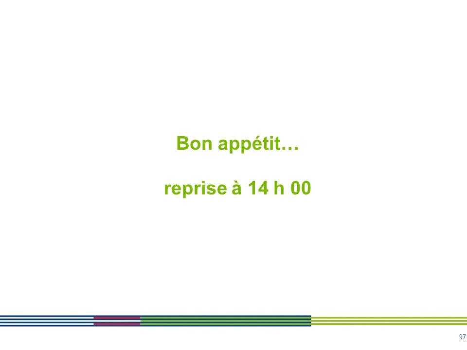 97 Bon appétit… reprise à 14 h 00