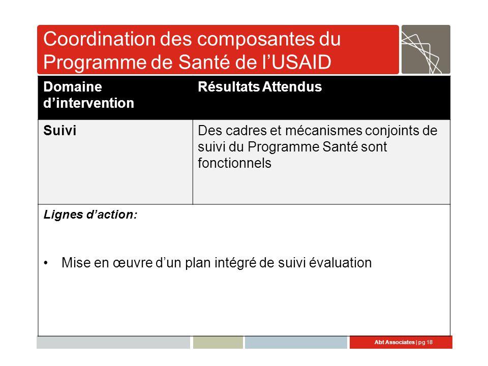 Abt Associates | pg 18 Coordination des composantes du Programme de Santé de l'USAID Domaine d'intervention Résultats Attendus SuiviDes cadres et mécanismes conjoints de suivi du Programme Santé sont fonctionnels Lignes d'action: Mise en œuvre d'un plan intégré de suivi évaluation