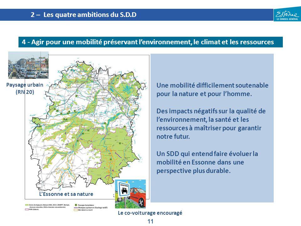 11 2 – Les quatre ambitions du S.D.D 4 - Agir pour une mobilité préservant l'environnement, le climat et les ressources Une mobilité difficilement sou