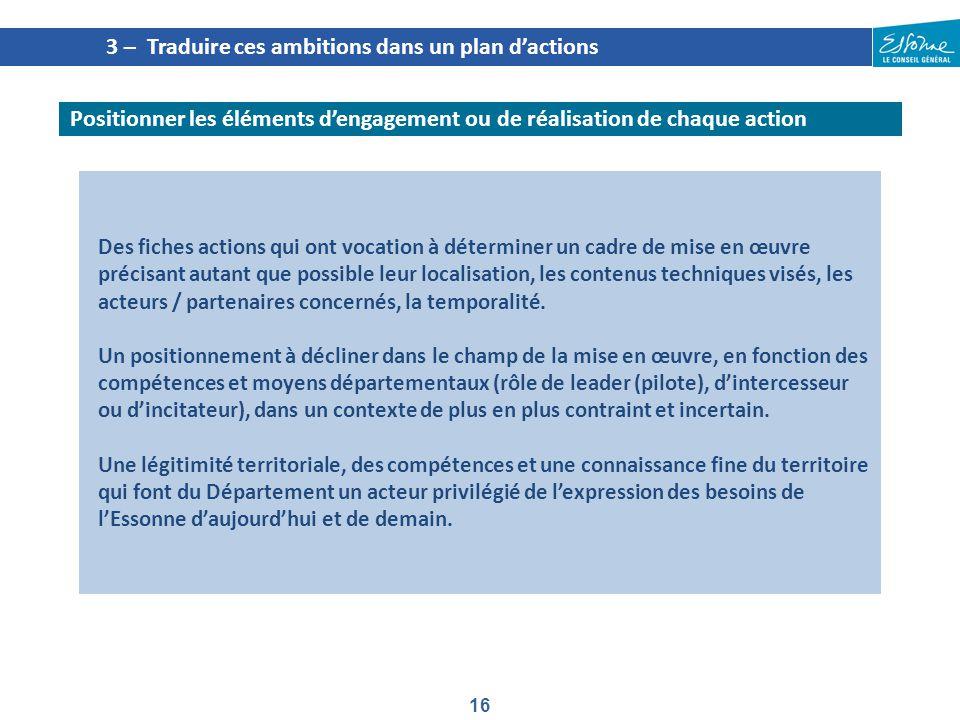 16 Des fiches actions qui ont vocation à déterminer un cadre de mise en œuvre précisant autant que possible leur localisation, les contenus techniques