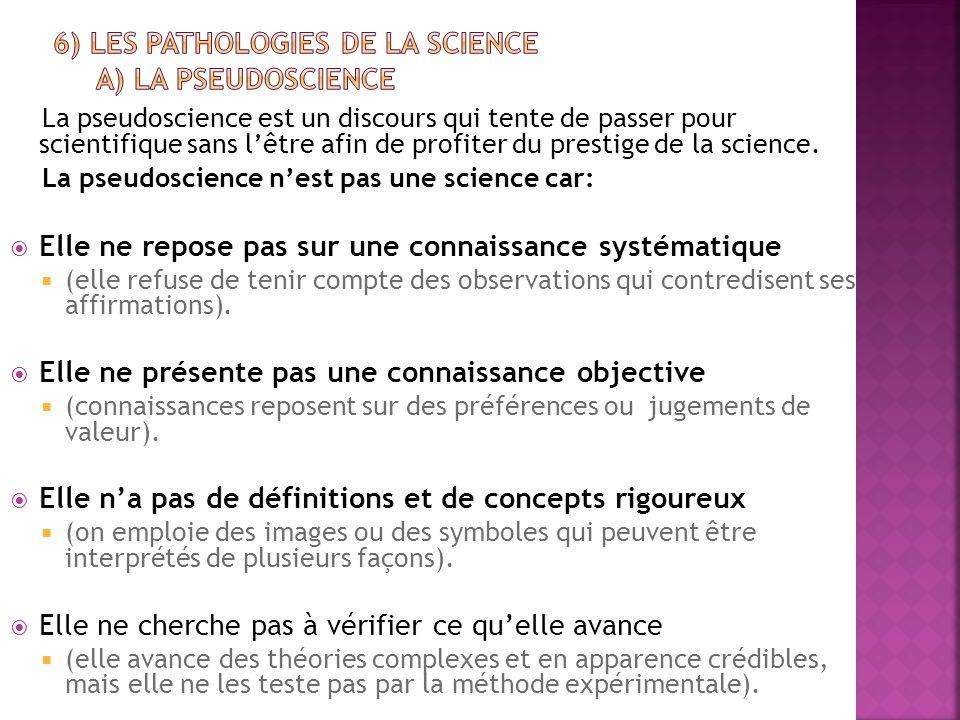 La pseudoscience est un discours qui tente de passer pour scientifique sans l'être afin de profiter du prestige de la science. La pseudoscience n'est