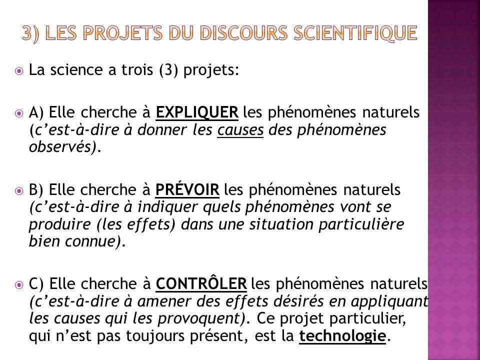  La science a trois (3) projets:  A) Elle cherche à EXPLIQUER les phénomènes naturels (c'est-à-dire à donner les causes des phénomènes observés). 