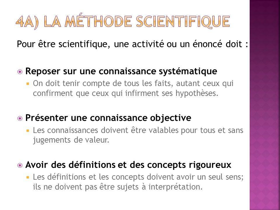 Pour être scientifique, une activité ou un énoncé doit :  Reposer sur une connaissance systématique  On doit tenir compte de tous les faits, autant