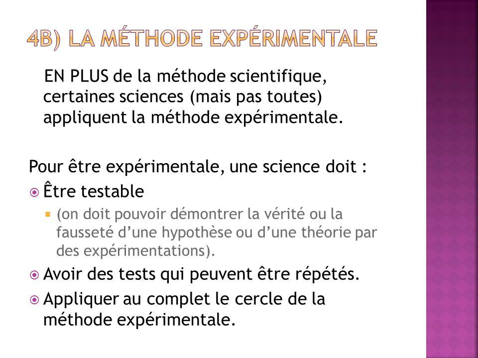 EN PLUS de la méthode scientifique, certaines sciences (mais pas toutes) appliquent la méthode expérimentale. Pour être expérimentale, une science doi