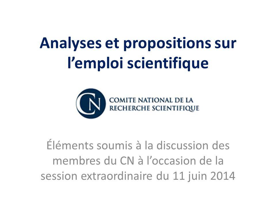 Analyses et propositions sur l'emploi scientifique Éléments soumis à la discussion des membres du CN à l'occasion de la session extraordinaire du 11 j
