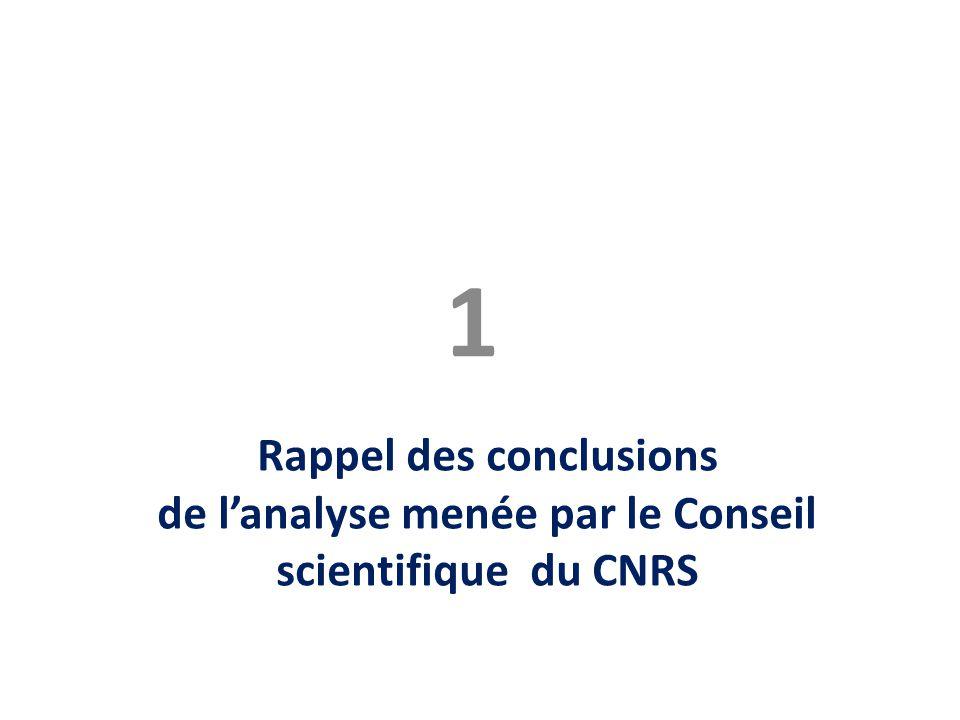 Rappel des conclusions de l'analyse menée par le Conseil scientifique du CNRS 1