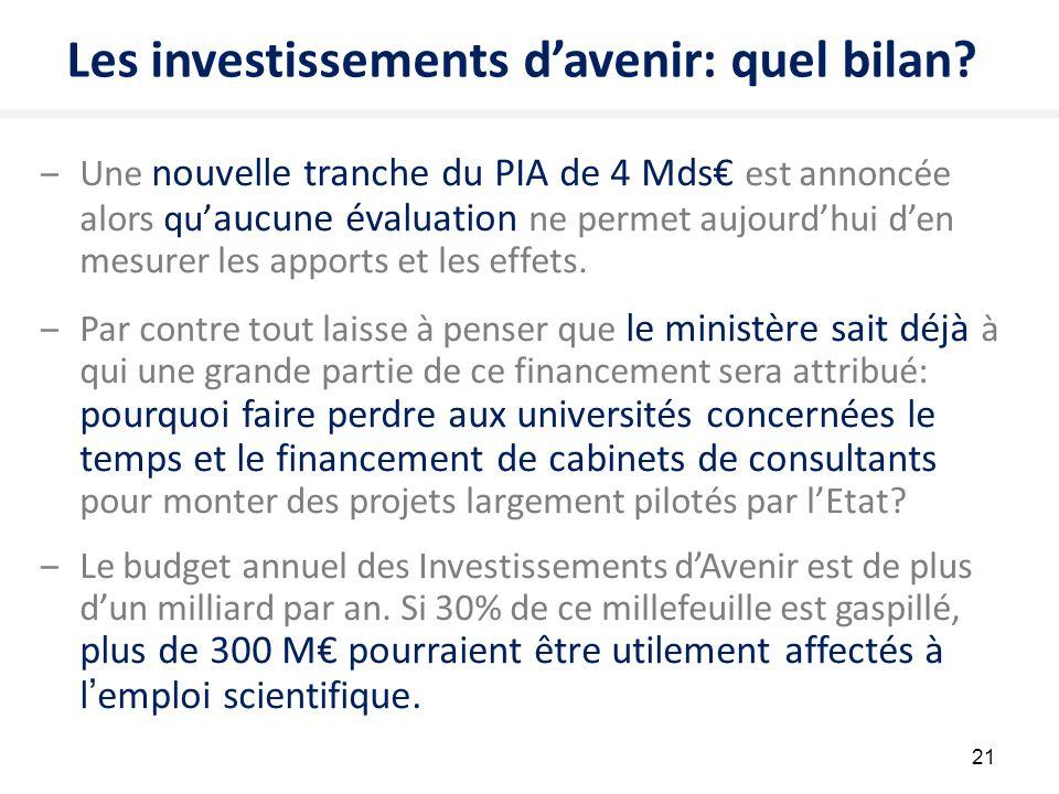 21 Les investissements d'avenir: quel bilan? ‒Une nouvelle tranche du PIA de 4 Mds€ est annoncée alors qu' aucune évaluation ne permet aujourd'hui d'e