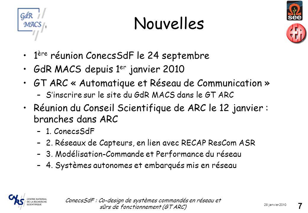 28 janvier 2010 ConecsSdF : Co-design de systèmes commandés en réseau et sûrs de fonctionnement (GT ARC) 7 Nouvelles 1 ère réunion ConecsSdF le 24 septembre GdR MACS depuis 1 er janvier 2010 GT ARC « Automatique et Réseau de Communication » –S'inscrire sur le site du GdR MACS dans le GT ARC Réunion du Conseil Scientifique de ARC le 12 janvier : branches dans ARC –1.
