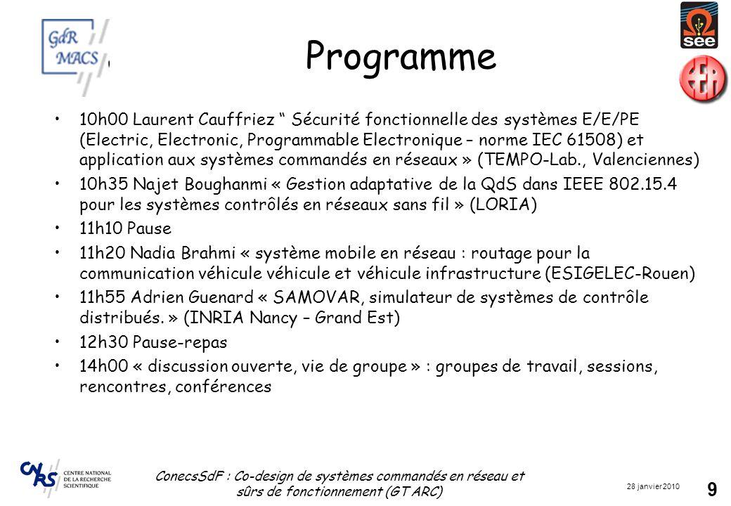 28 janvier 2010 ConecsSdF : Co-design de systèmes commandés en réseau et sûrs de fonctionnement (GT ARC) 9 Programme 10h00 Laurent Cauffriez Sécurité fonctionnelle des systèmes E/E/PE (Electric, Electronic, Programmable Electronique – norme IEC 61508) et application aux systèmes commandés en réseaux » (TEMPO-Lab., Valenciennes) 10h35 Najet Boughanmi « Gestion adaptative de la QdS dans IEEE 802.15.4 pour les systèmes contrôlés en réseaux sans fil » (LORIA) 11h10 Pause 11h20 Nadia Brahmi « système mobile en réseau : routage pour la communication véhicule véhicule et véhicule infrastructure (ESIGELEC-Rouen) 11h55 Adrien Guenard « SAMOVAR, simulateur de systèmes de contrôle distribués.