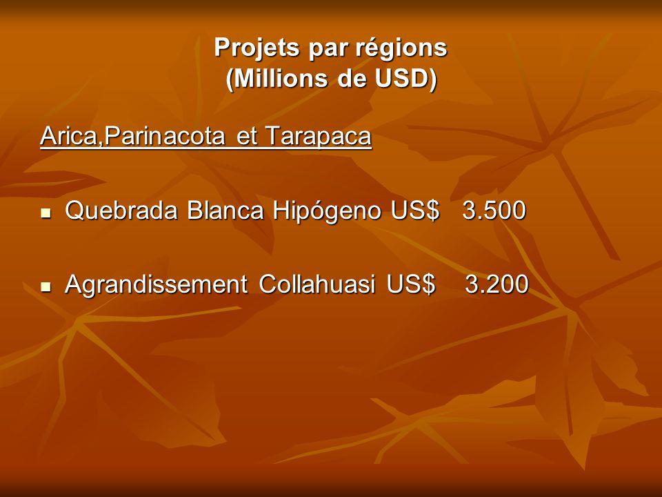 Projets par régions (Millions de USD) Arica,Parinacota et Tarapaca Quebrada Blanca Hipógeno US$ 3.500 Quebrada Blanca Hipógeno US$ 3.500 Agrandissemen