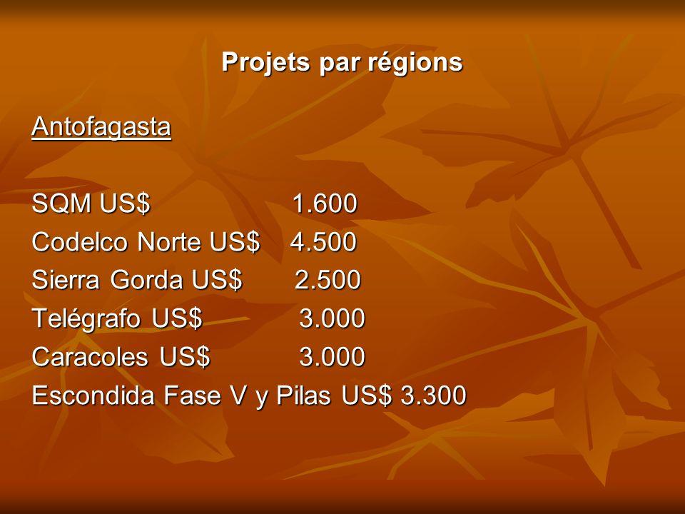 Projets par régions Antofagasta SQM US$ 1.600 Codelco Norte US$ 4.500 Sierra Gorda US$ 2.500 Telégrafo US$ 3.000 Caracoles US$ 3.000 Escondida Fase V