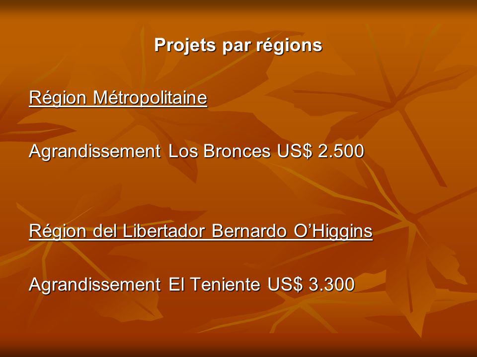 Projets par régions Région Métropolitaine Agrandissement Los Bronces US$ 2.500 Région del Libertador Bernardo O'Higgins Agrandissement El Teniente US$