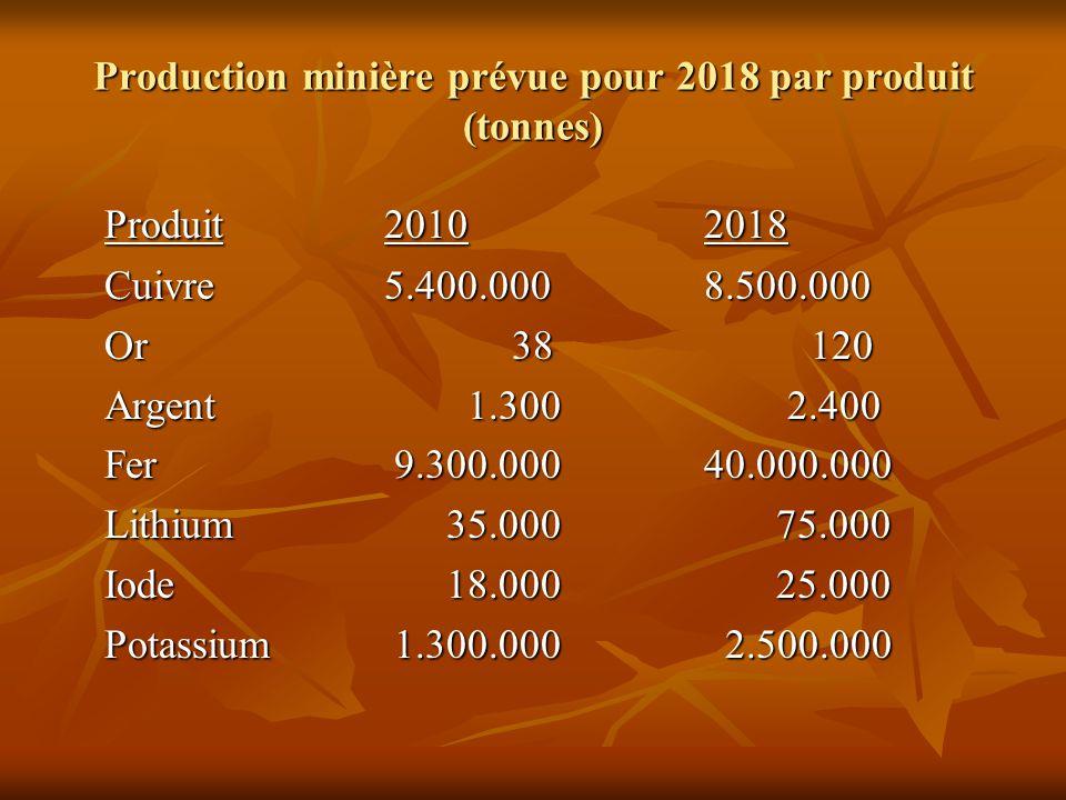Production minière prévue pour 2018 par produit (tonnes) Produit20102018 Cuivre5.400.0008.500.000 Or 38120 Argent 1.300 2.400 Fer 9.300.00040.000.000