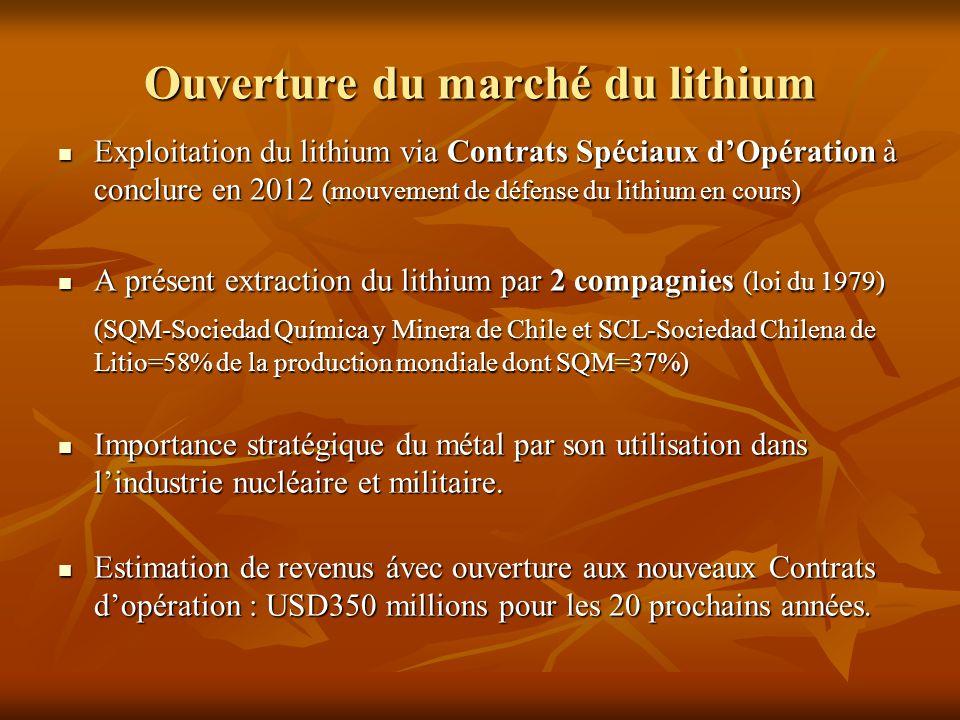 Ouverture du marché du lithium Exploitation du lithium via Contrats Spéciaux d'Opération à conclure en 2012 (mouvement de défense du lithium en cours)