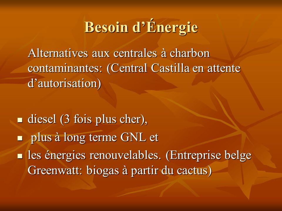Besoin d'Énergie Alternatives aux centrales à charbon contaminantes: (Central Castilla en attente d'autorisation) diesel (3 fois plus cher), diesel (3