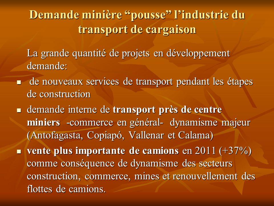 """Demande minière """"pousse"""" l'industrie du transport de cargaison La grande quantité de projets en développement demande: de nouveaux services de transpo"""