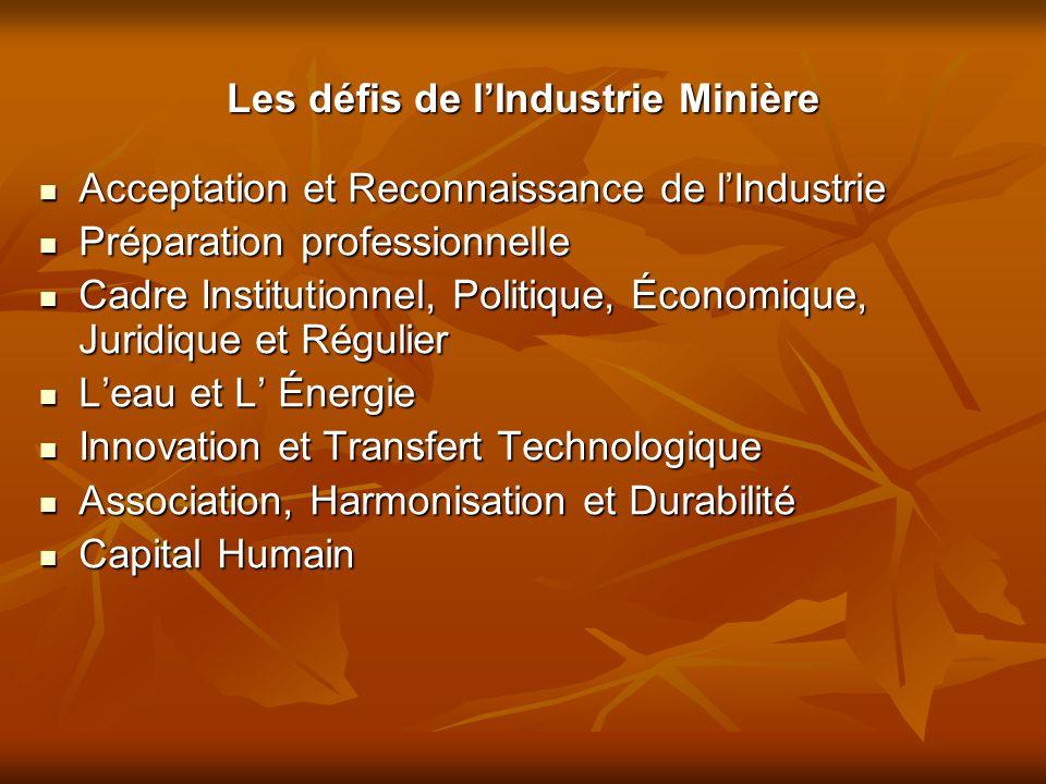 Les défis de l'Industrie Minière Acceptation et Reconnaissance de l'Industrie Acceptation et Reconnaissance de l'Industrie Préparation professionnelle