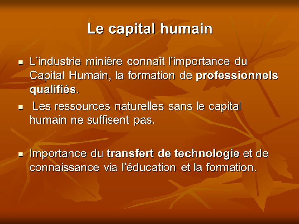 Le capital humain L'industrie minière connaît l'importance du Capital Humain, la formation de professionnels qualifiés. L'industrie minière connaît l'