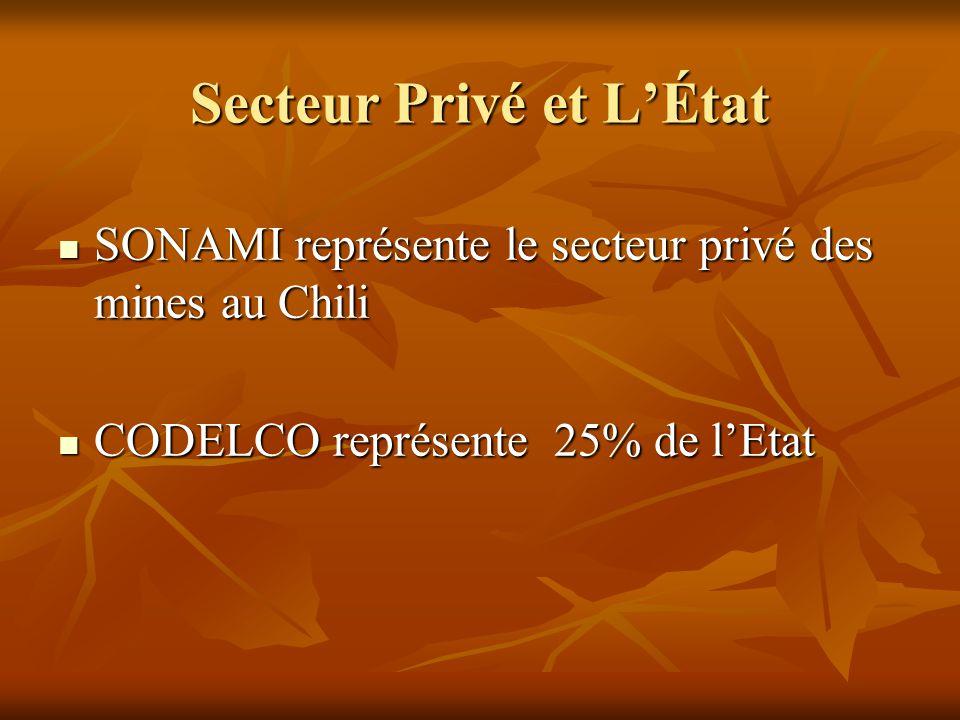 Secteur Privé et L'État SONAMI représente le secteur privé des mines au Chili SONAMI représente le secteur privé des mines au Chili CODELCO représente