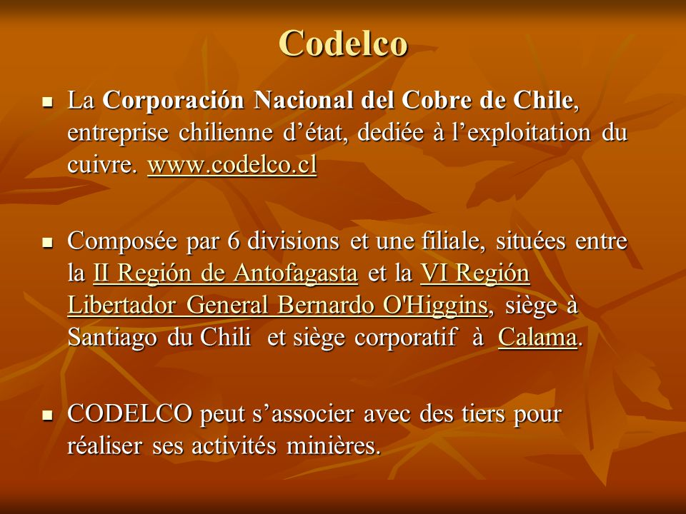 Projets par régions Atacama Lobo Marte US$ 600 Cerro Casale US$ 4.300 Caserones US$ 2.000 CMP US$ 1.600 Relincho US$ 3.500 El Morro US$ 2.500 Pascua Lama US$ 3.000