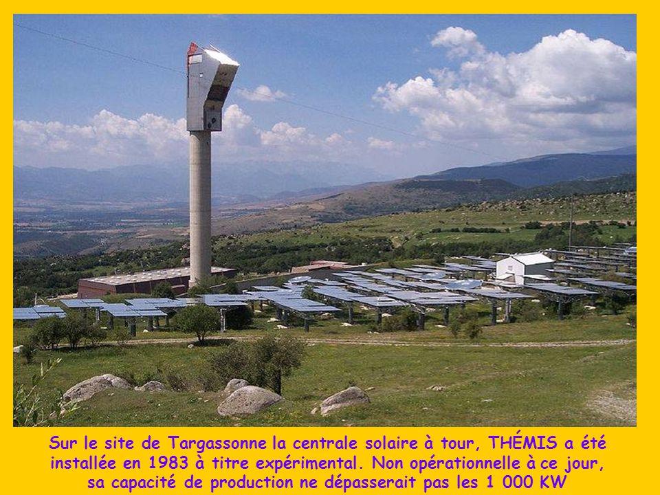 Les rayons solaires sont captés par 63 héliostats de 45 m 2 chacun, miroirs orientables situés sur la pente, puis envoyés vers les concentrateurs disp