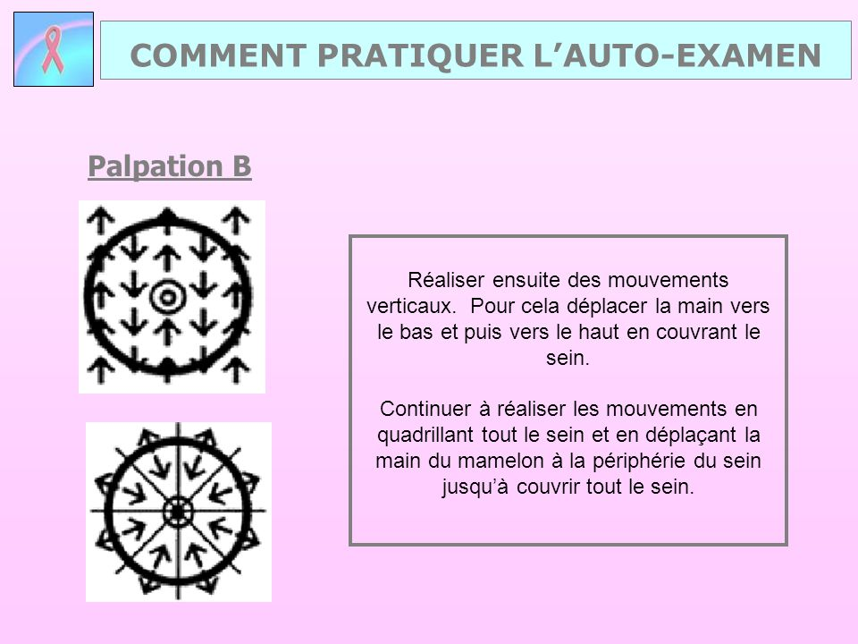Palpation B COMMENT PRATIQUER L'AUTO-EXAMEN Réaliser ensuite des mouvements verticaux. Pour cela déplacer la main vers le bas et puis vers le haut en