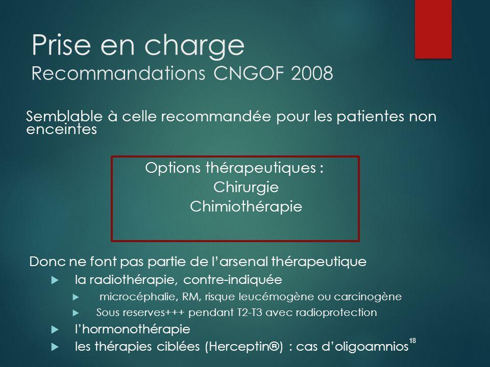18 Prise en charge Recommandations CNGOF 2008 Semblable à celle recommandée pour les patientes non enceintes Options thérapeutiques : Chirurgie Chimiothérapie Donc ne font pas partie de l'arsenal thérapeutique  la radiothérapie, contre-indiquée  microcéphalie, RM, risque leucémogène ou carcinogène  Sous reserves+++ pendant T2-T3 avec radioprotection  l'hormonothérapie  les thérapies ciblées (Herceptin®) : cas d'oligoamnios