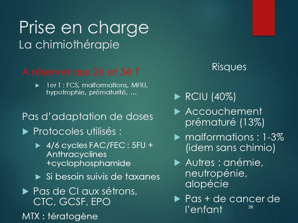 20 Prise en charge La chimiothérapie A réserver aux 2è et 3è T  1er T : FCS, malformations, MFIU, hypotrophie, prématurité, … Pas d'adaptation de doses  Protocoles utilisés :  4/6 cycles FAC/FEC : 5FU + Anthracyclines +cyclophosphamide  Si besoin suivis de taxanes  Pas de CI aux sétrons, CTC, GCSF, EPO MTX : tératogène Risques  RCIU (40%)  Accouchement prématuré (13%)  malformations : 1-3% (idem sans chimio)  Autres : anémie, neutropénie, alopécie  Pas + de cancer de l'enfant