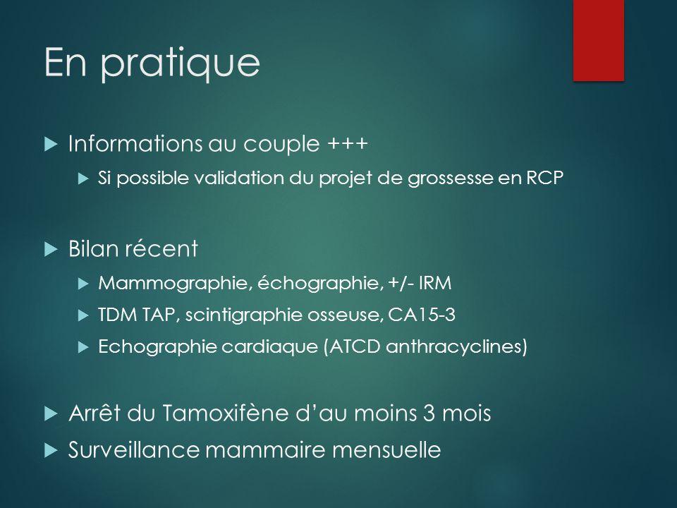En pratique  Informations au couple +++  Si possible validation du projet de grossesse en RCP  Bilan récent  Mammographie, échographie, +/- IRM  TDM TAP, scintigraphie osseuse, CA15-3  Echographie cardiaque (ATCD anthracyclines)  Arrêt du Tamoxifène d'au moins 3 mois  Surveillance mammaire mensuelle