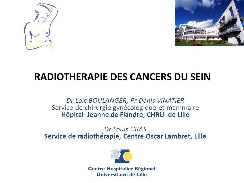 RADIOTHERAPIE DES CANCERS DU SEIN Dr Loïc BOULANGER, Pr Denis VINATIER Service de chirurgie gynécologique et mammaire Hôpital Jeanne de Flandre, CHRU