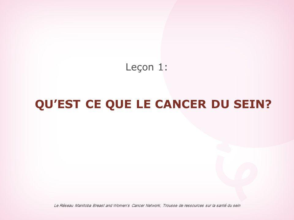 Leçon 1: QU'EST CE QUE LE CANCER DU SEIN? Le Réseau Manitoba Breast and Women's Cancer Network, Trousse de ressources sur la santé du sein