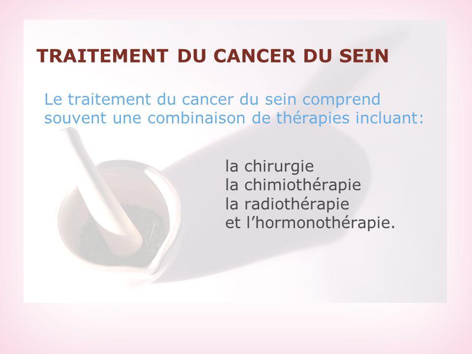 TRAITEMENT DU CANCER DU SEIN Le traitement du cancer du sein comprend souvent une combinaison de thérapies incluant: la chirurgie la chimiothérapie la