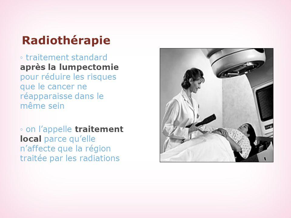 Radiothérapie ◦ traitement standard après la lumpectomie pour réduire les risques que le cancer ne réapparaisse dans le même sein ◦ on l'appelle trait
