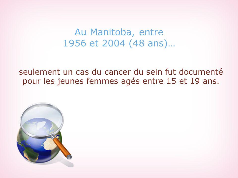 Au Manitoba, entre 1956 et 2004 (48 ans)… seulement un cas du cancer du sein fut documenté pour les jeunes femmes agés entre 15 et 19 ans.